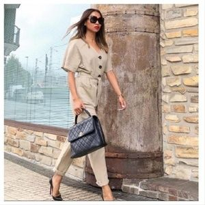 Zara linen belted overall